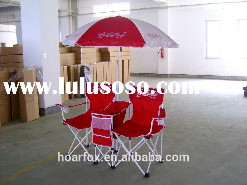 Collapsible double camping chair with umbrella and cooler bag,full camping set