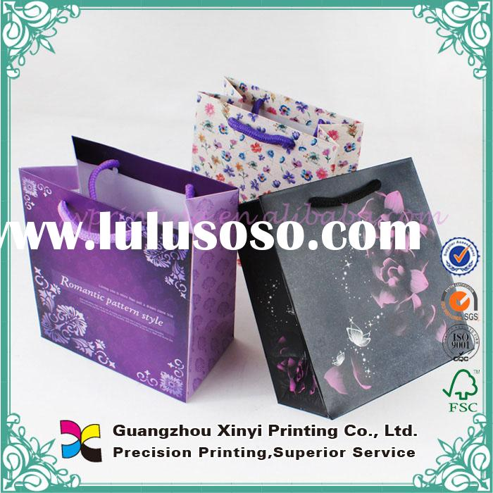 Custom made printed color small black paper bags with handles