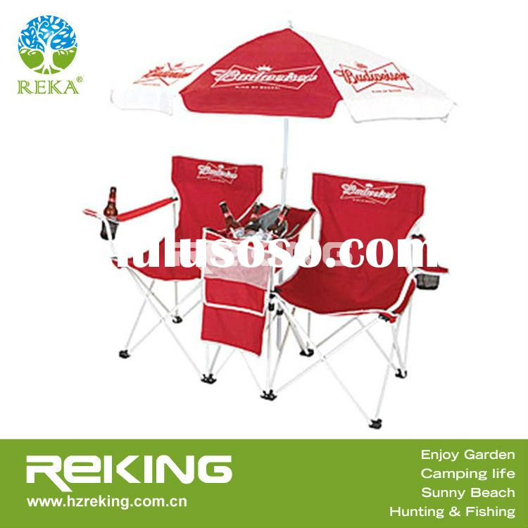 Double seat camping chair with umbrella