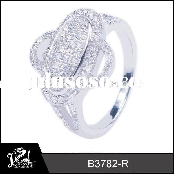 JRL Brand new solid unique shape 925 sterling silver CZ jewelry, high quality micro pave setting rin