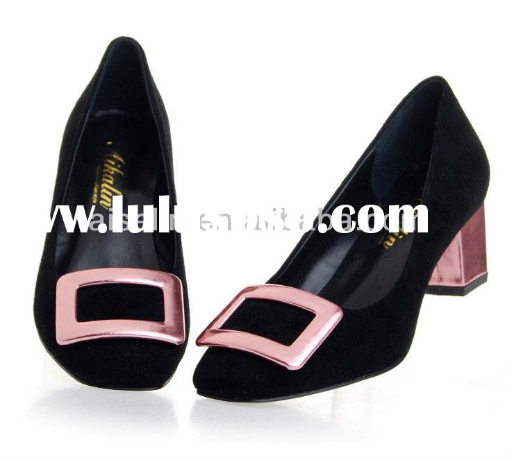 ONLY supplier make big size women shoes in China Genuine leather handmade shoes square fashion low h