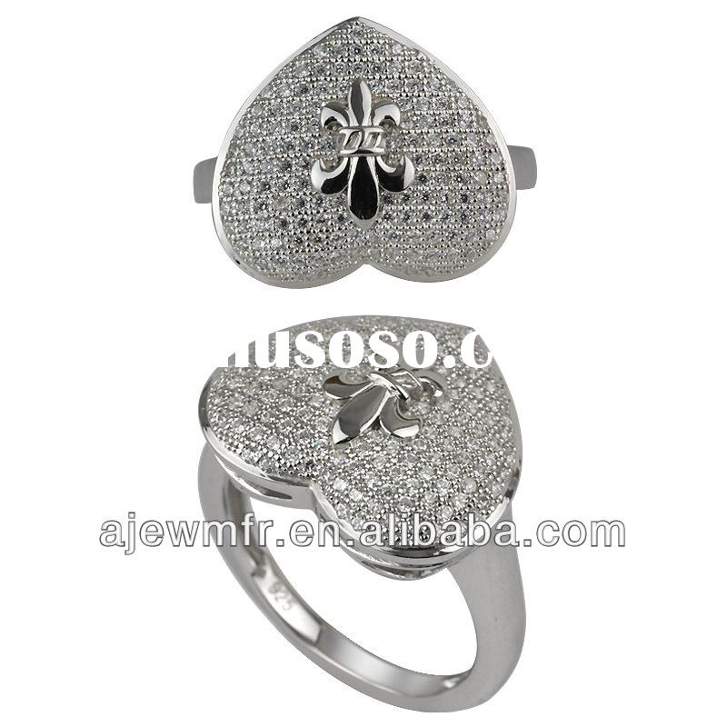 Unique sterling silver ring with micro pave setting