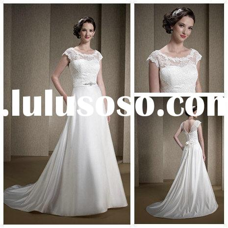 Vintage A Line Princess Wedding gowns 2014 Lace Covered Top Bridal Gowns for Women 2014 New Arrival