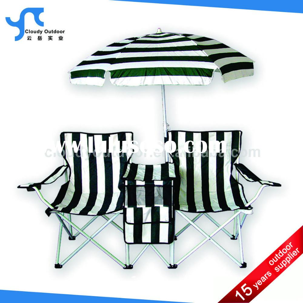double camping chair with cooler bag umbrella