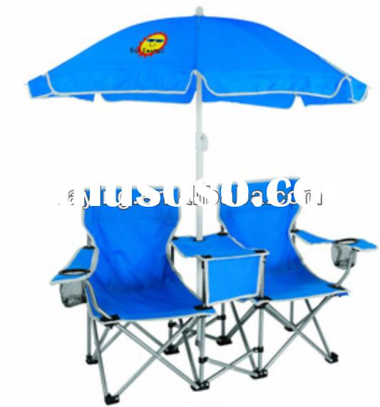 double folding chair with umbrella and cooler
