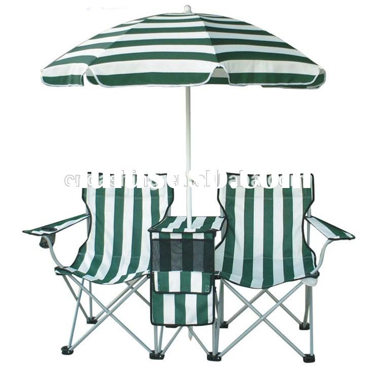 folding double seat camping chair with umbrella