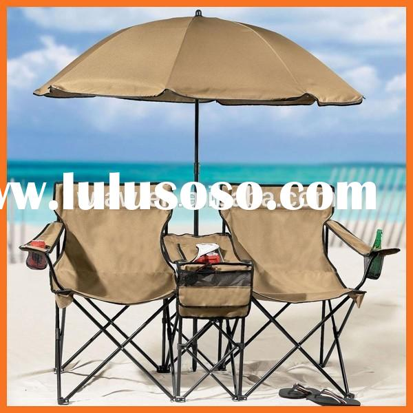 folding double camping chair with umbrella and cooler table