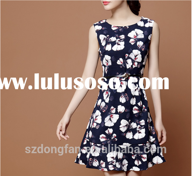 2015 new fashion print long dresses for women sleeveless beach dress female floral casual cute boho