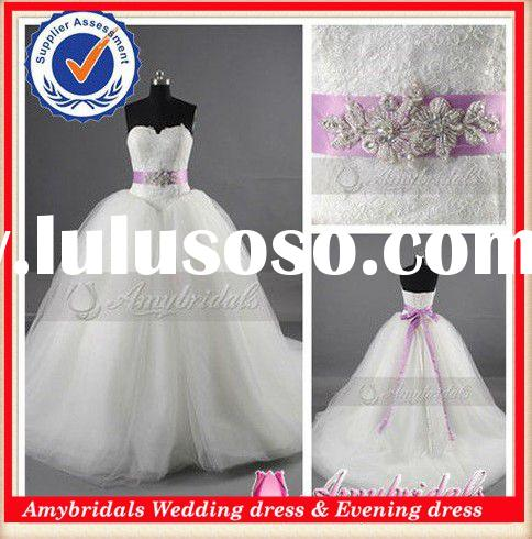 AM346a Purple And White Ball Gown Wedding Dresses 2015