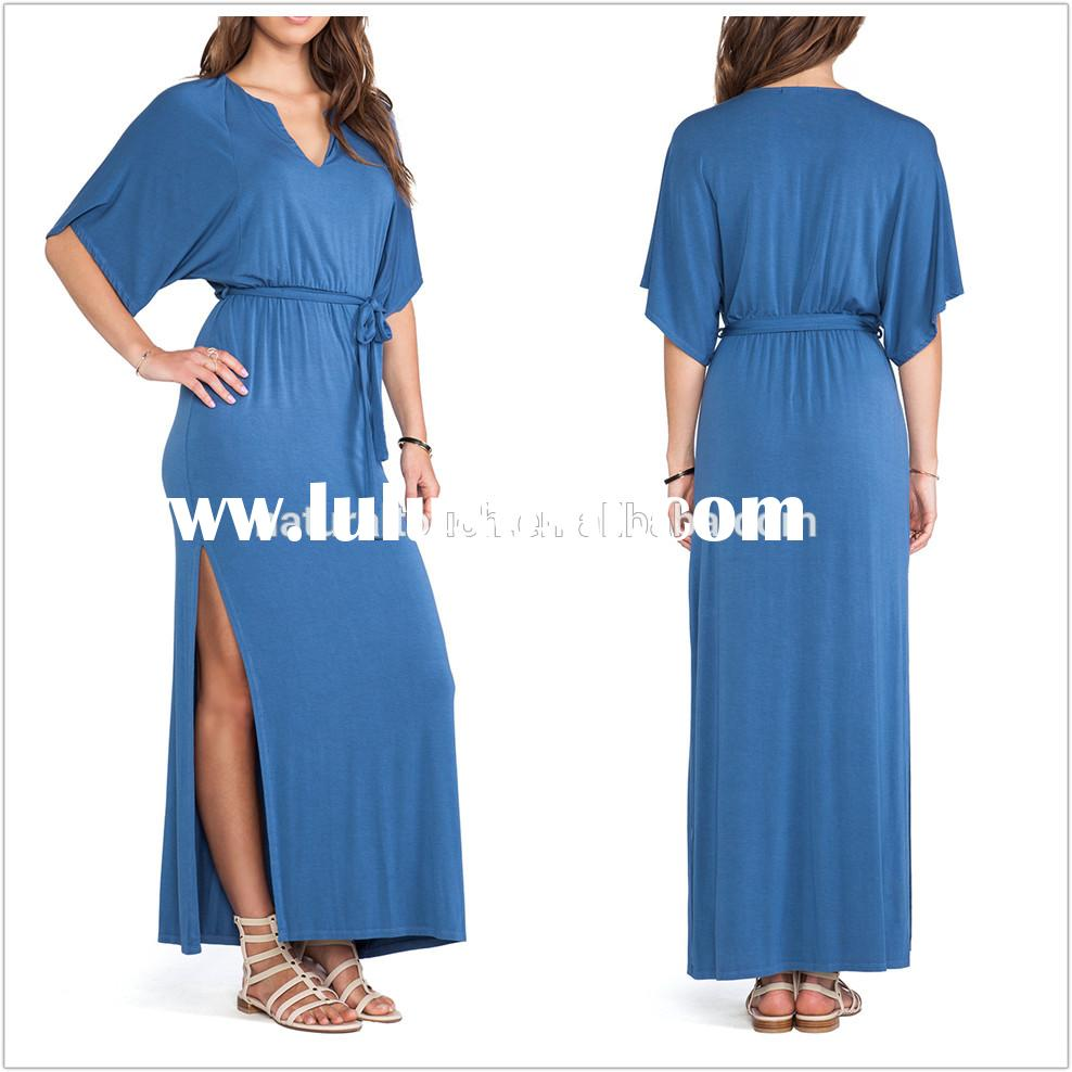 China supplier woman short sleeve casual jersey maxi dress with side slit (NTF06004)