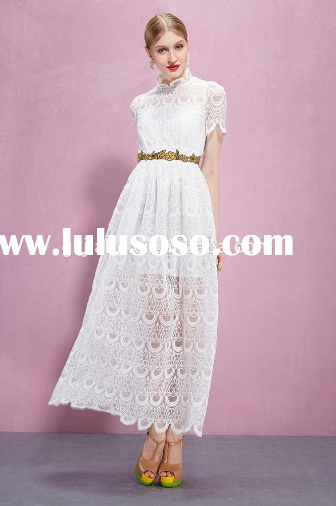 Designer Womens Lace Embroidered Maxi Casual Dresses with White Short Sleeves