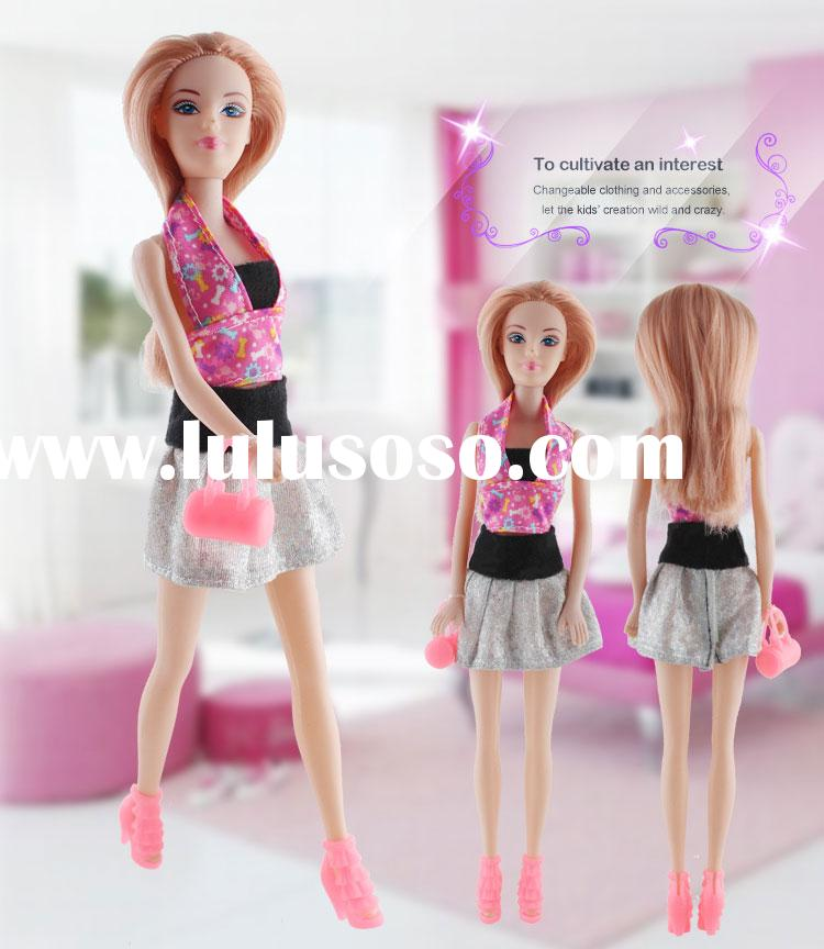 Fashion Abbie Dress up Beauty Long Hair Doll Dress Shoes And Stylish Accessories Set Girl Toys
