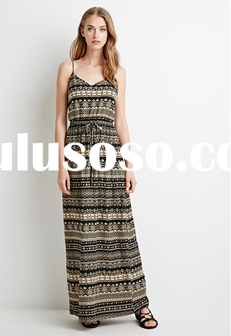 Fashion Southwestern Print Maxi Casual Beach Summer Dresses for women 2015