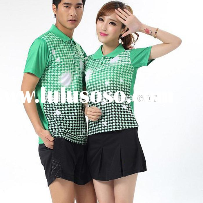 Green polo jersey and shorts badminton skirt cheap volleyball uniforms