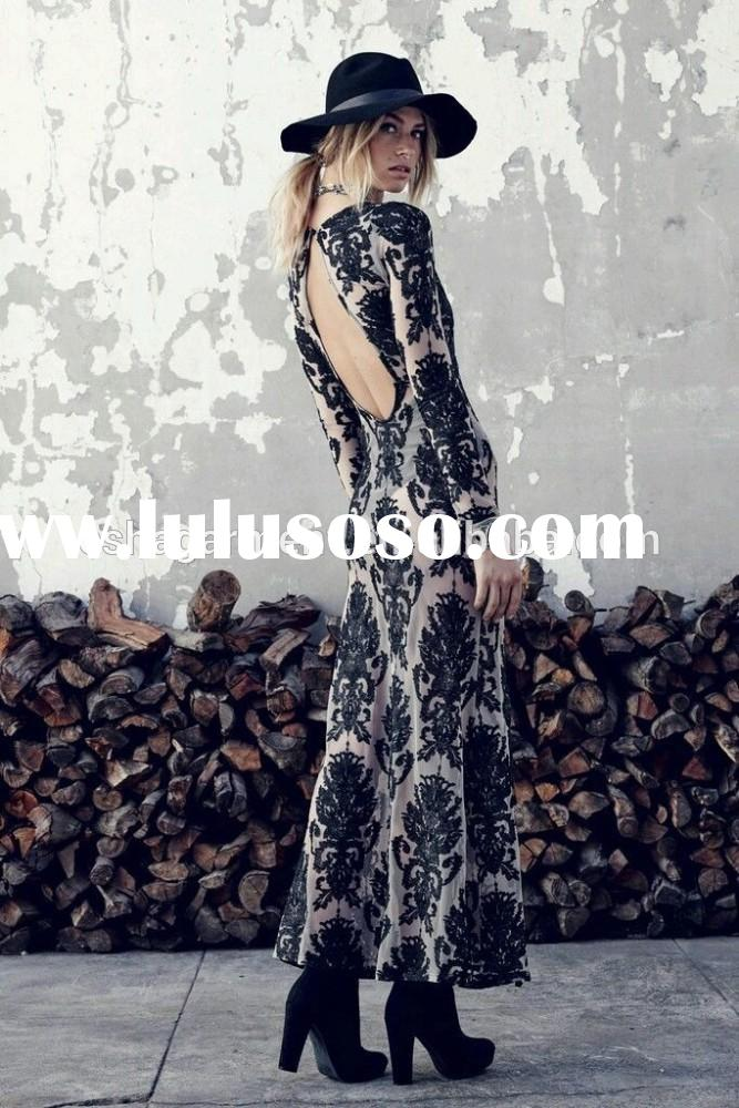 New arrival Maxi Dress Black Nude Embroidery summer dress 2015 for women/ladies fashion casual dress