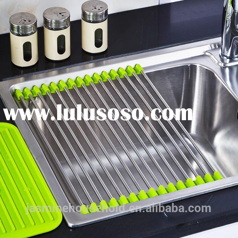 New products Stainless Steel Folding Drain Rack -Dish Drying Rack Tray