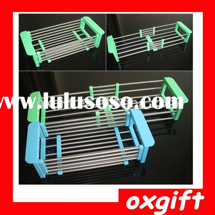 OXGIFT 2014 Stainless Steel Flexible Kitchen Storage Rack Dish Drying Rack Bowl Rack with tray T1404