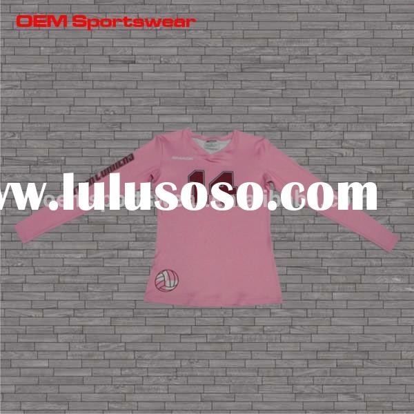 Pink sublimated volleyball jerseys cheap
