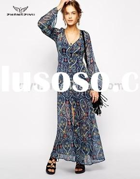 Printed Maxi Dress with Fluted Sleeve Casual dress for Women Z4197