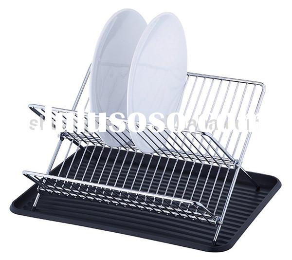 Stainless Steel Kitchen Dish Drying Rack with Black plastic tray(guangzhou)
