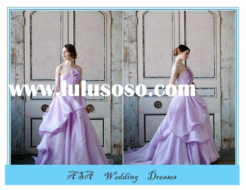 Stunning off shoulder Light Purple Satin Ruffled wedding gowns ball gown wedding dresses patterns 20