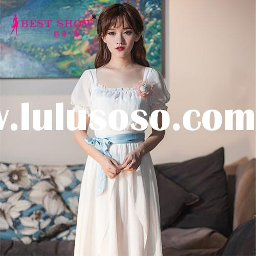 Top Selling Literary Style Chiffon Maxi Dresses Short Puff Sleeve With Pink Belt Design Women Clothi