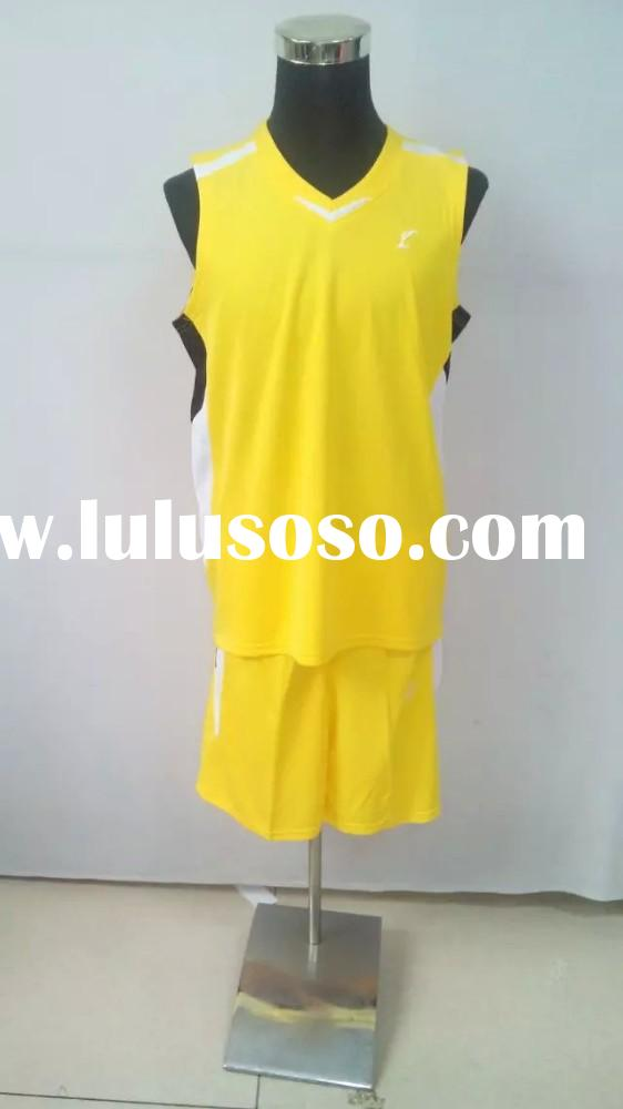 high quality cheap wholesale 100% polyester men basketball jersey yellow