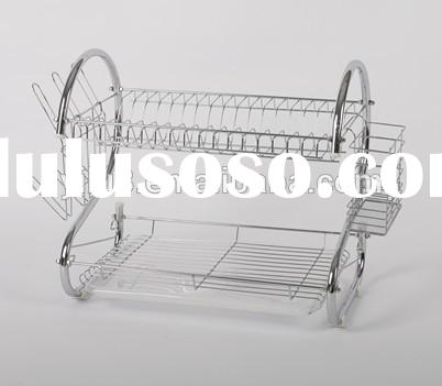 muti-functional 2 layers 22' stainless steel Kitchen cabinet dish drying rack with single pl