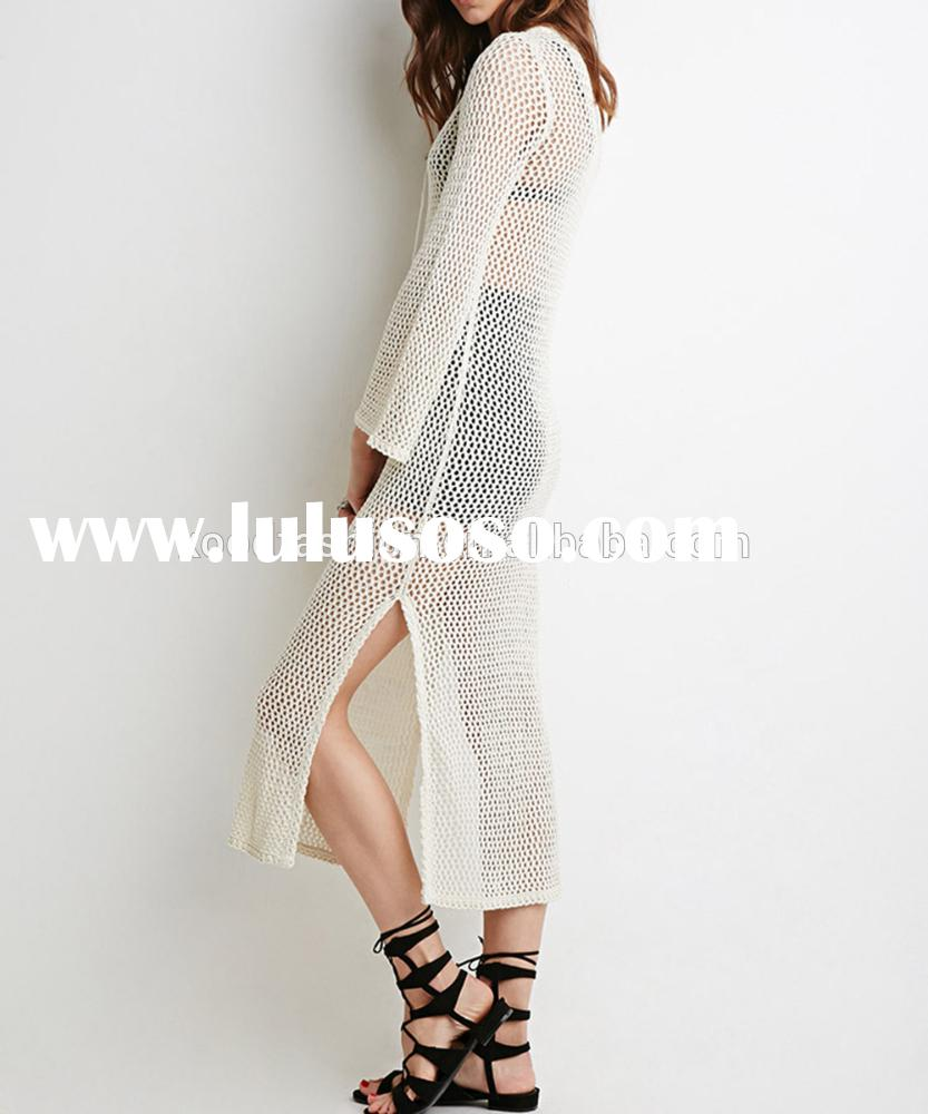 white open crocheted maxi dress with self tied V neck long sleeve maxi dress for casual life