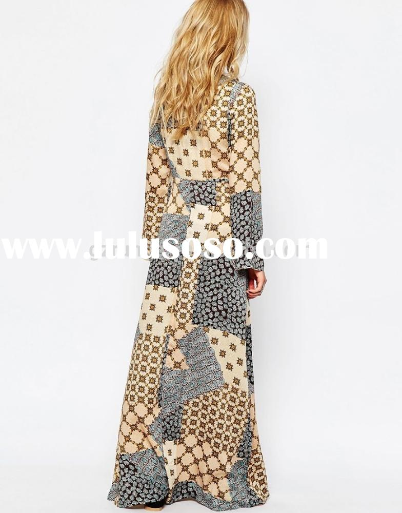 woman dress wholesales,long sleeve woman casual maxi dress with printed