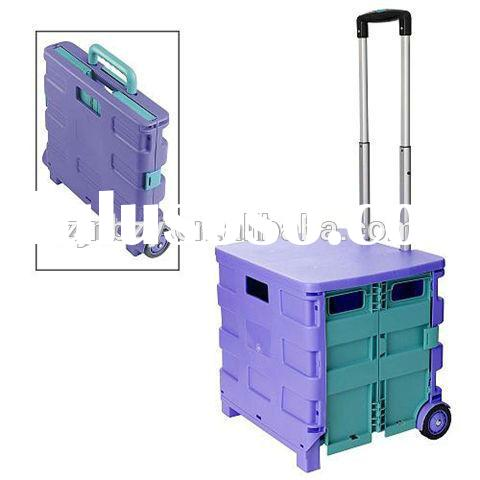 2015 hot sell PP Portable Plastic Folding Shopping Cart with 2 wheels