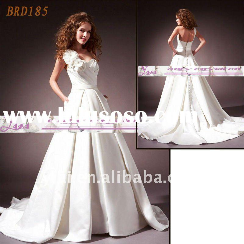 BRD185 Factory Outlet 2012 Beautiful One Shoulder Handmade Flowers Draped Ruffle Fashion A-line Thic