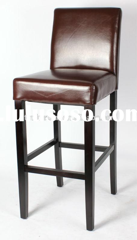 PU dining chair;luxury dining chair;leather dining chair/ Modern black leather upholstered wooden ba