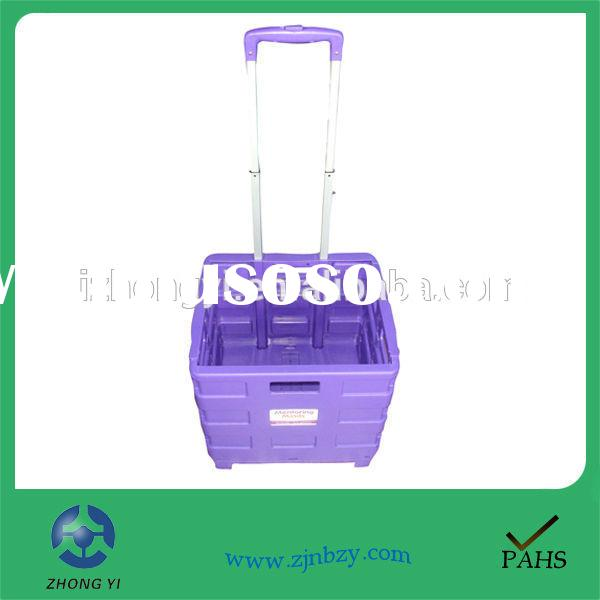 Portable Plastic Folding Rolling Shopping Cart with 2 Wheels