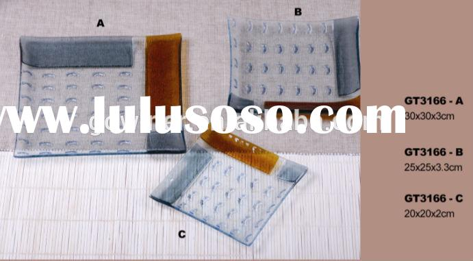fused Glass Plate Dinnerware sets clear glass plate glass tray