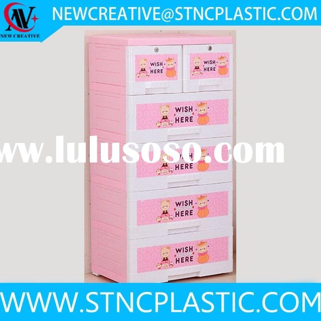 household plastic storage cabinet with lock 5 drawers