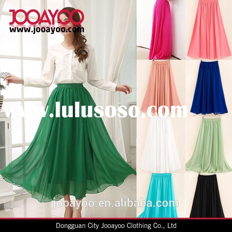 summer women chiffon pleated high waisted long skirt dresses for women elegant