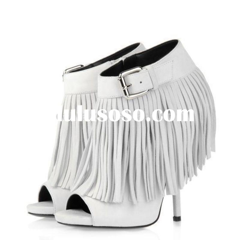 wedge sandals new open toe strappy white gladiator cutout high heel boots with no moq