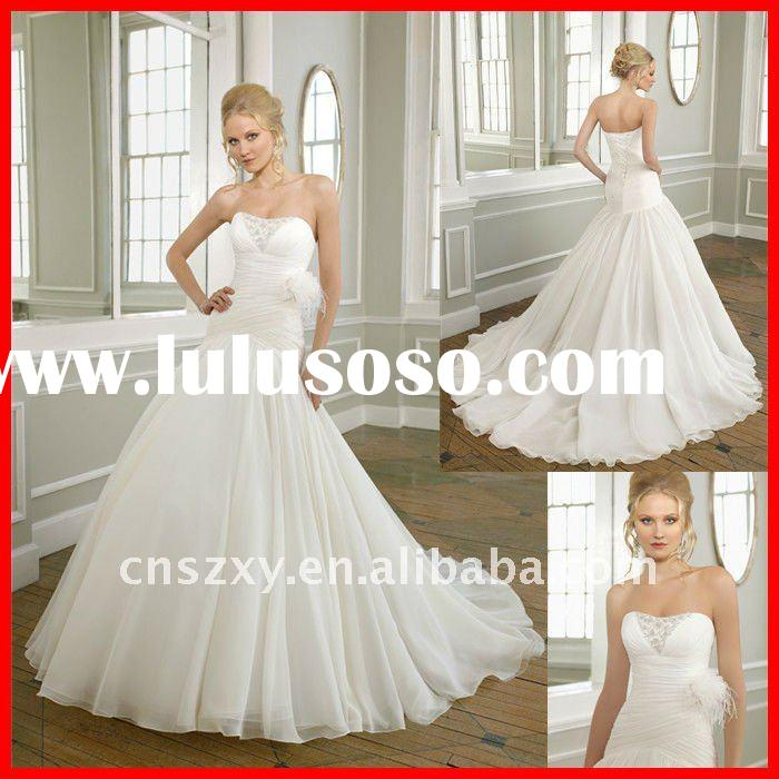2011 Fashion High quality Strapless silk chiffon Feather Decorated Mermaid Beaded Wedding Dresses 16
