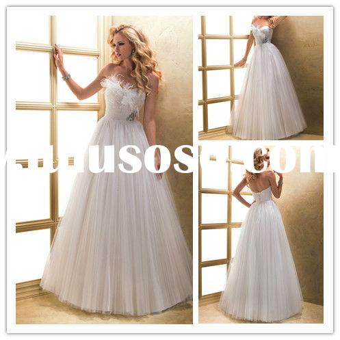 2013 Fashionable Ostrich Feather Sweetheart A-line Floor-length Ruffle Beaded Sash Ball Gown Wedding