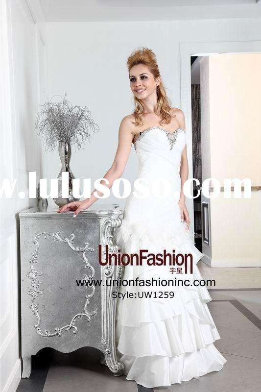 2014Partitionable long Wedding dress sweetheart beaded ostrich feather white layered wedding dress