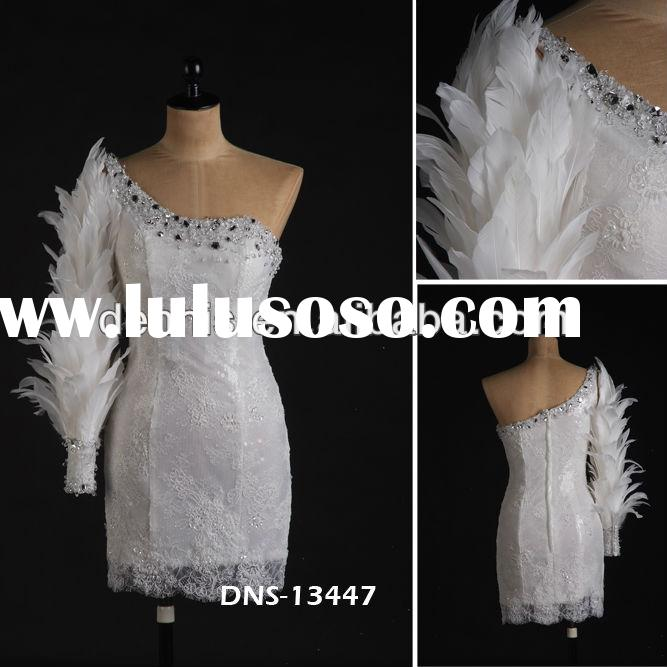 2014 Latest Design Long Sleeve DNS-13447 One Shoulder Beaded Crystal Real Picture Sheath White Lace