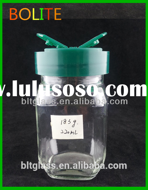 2015 220ml cheap Clear Glass Spice Jar with Plastic Butterfly Cap wholesale