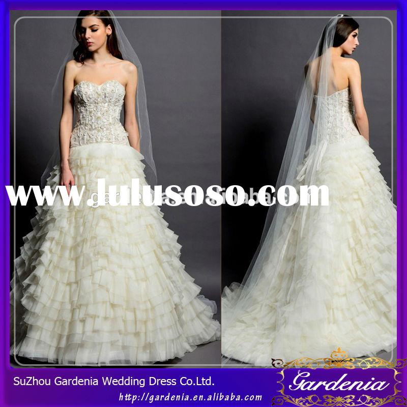 Ball Gown Sweetheart Open Back Ruffle Beaded layered Ostrich Feather Wedding Dress