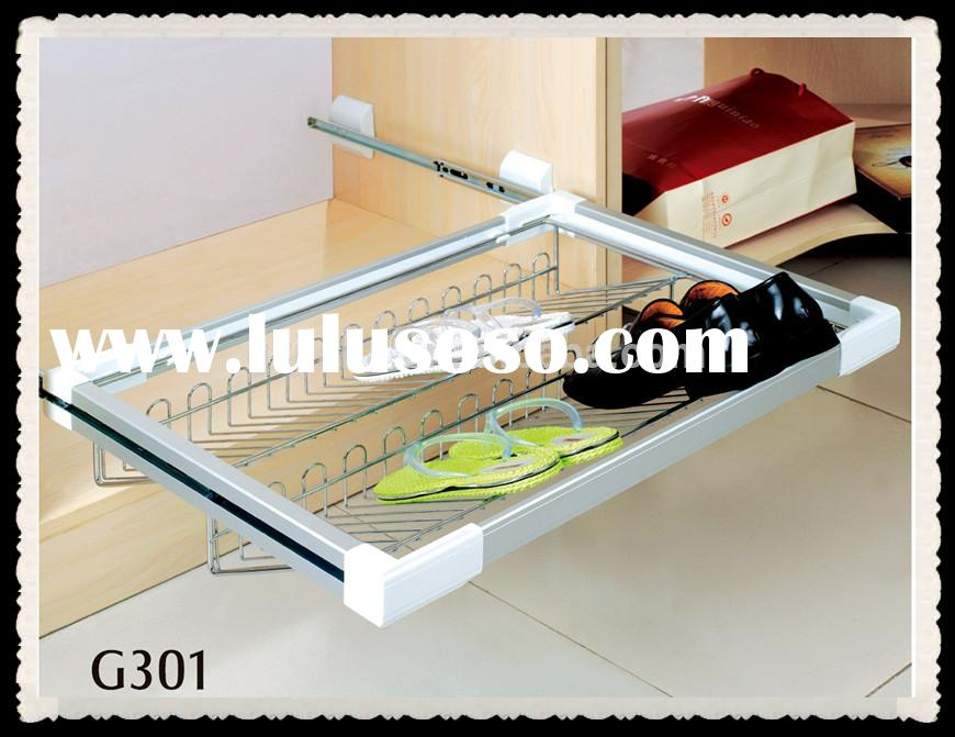 Full extension adjustable wire shoe racks for closets