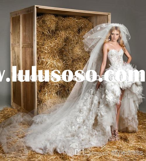 High Quality 2015 Vintage Charming Sweetheart Lace Feather Front short Long Exquisite Wedding Dresse