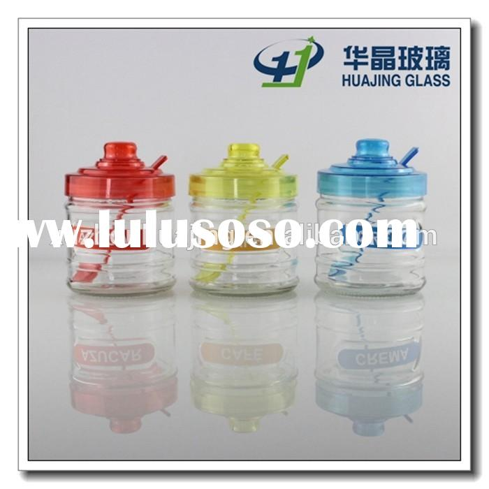 High quality cheap clear glass cookie jar with plastic lid and spoon wholesale in xuzhou manufactory