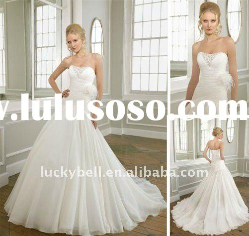 Magnificent Sleeveless Trumpet Feather Pure White Organza Wedding Dress