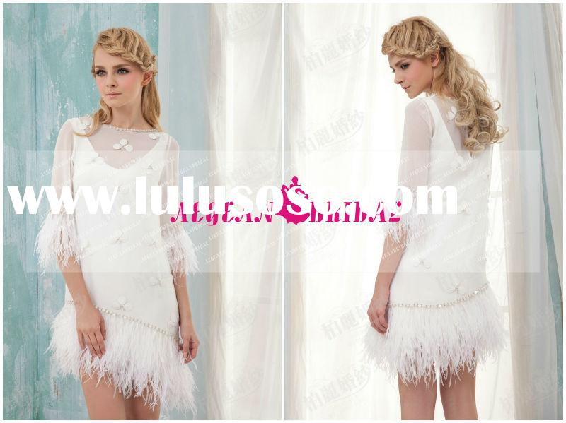 New Arrival Free Shipping Real sample Gorgeous Feather White Short Wedding Dress 2013 AEW013