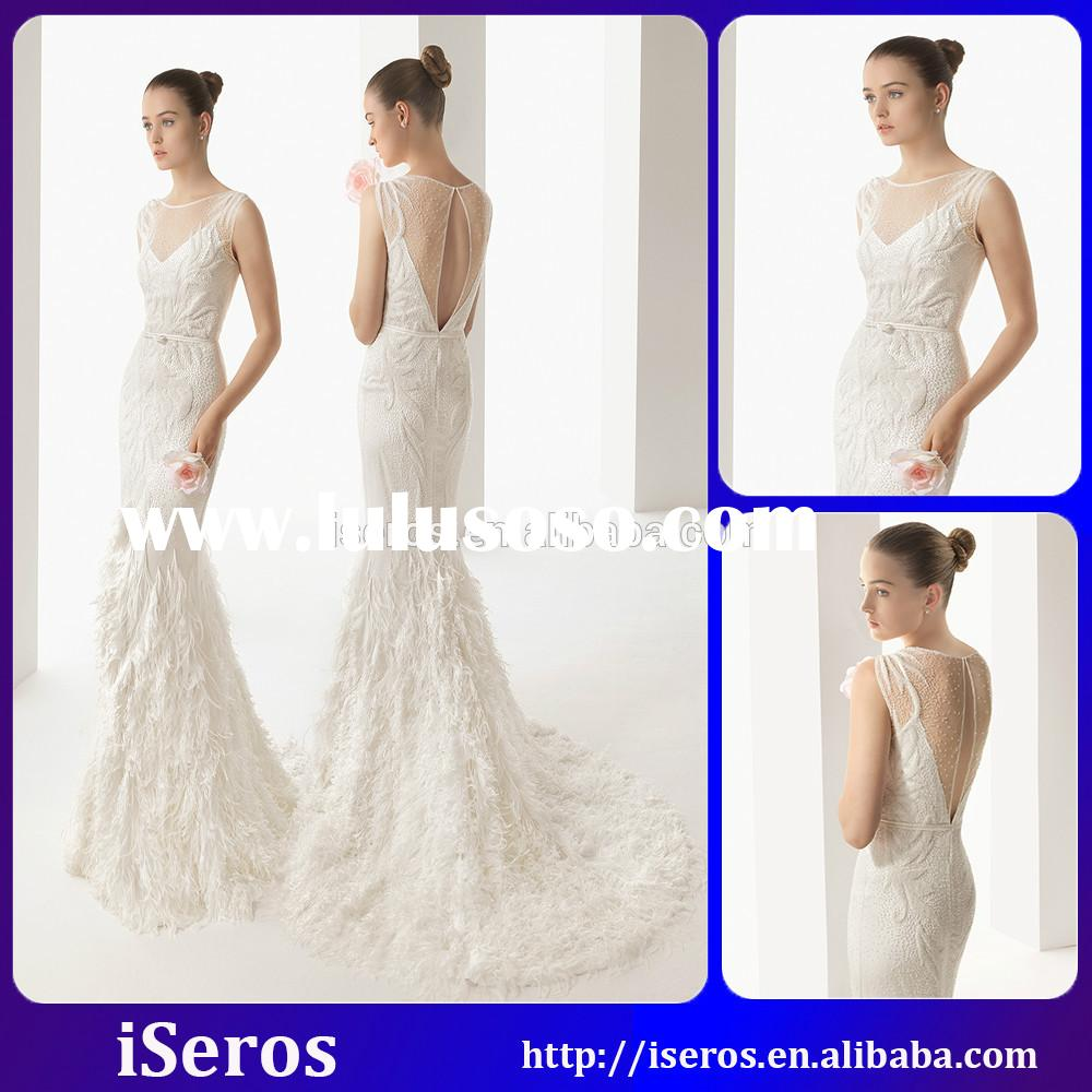 New Arrivals Bateau Floor Length Sheer Back Beaded Feather Lace Mermaid Wedding Dresses 2015